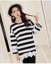 Lace Black & White Striped Loose Top #A1384
