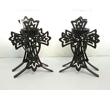 Pair Tealight Candle Holder Black Metal Cross Gothic 8""