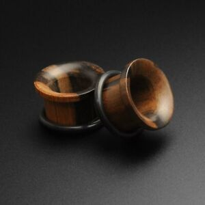 Wooden Ear Flesh Tunnel | Areng Wood Single Flare Concave Tunnel | Organic Gauge