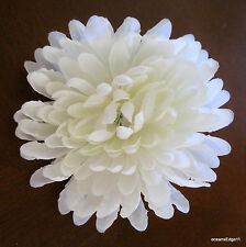 "4.5"" Cream White Mum Silk Flower Hair Comb,Pin Up,Updo,Bridal"