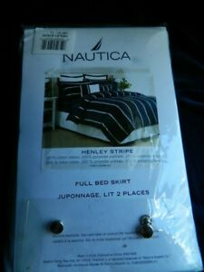 NEW!! Nautica Full BEDSKIRT Henley stripe White Cotton ribbon Poly platform