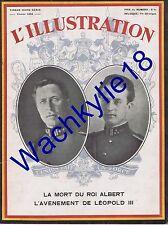 L'illustration hors-série 02/1934 Mort roi Albert 1er Belgique Avènement Léopold