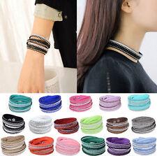 Punk Wrap Bracelet Bangle Wristband HOT Rhinestone Cuff Crystal Leather