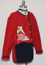 RED ~ Loden BOILED WOOL German Bavarian Women Walk Sweater JACKET Coat / 40 16 L