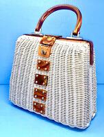 Vintage Woven Wicker Honey Bakelite Lucite Handbag Purse British Hong Kong NICE