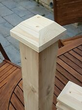 "6 pyramid  fence / decking post caps  with screws 5""x5""x2"" to suit 4""x4"" posts"