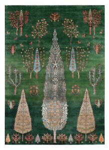 Green Color 5'7''x7'10'' ft Cypress tree Antique Style Hand Knotted Area Rugs