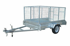 7 x 5 BOX TRAILER BRAND NEW GALVANISED WITH 900MM CAGE + RAMP - FULLY WELDED