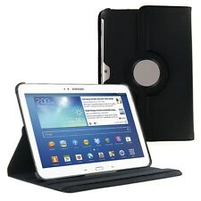 """Black 360 Rotating PU Leather Case Cover for Samsung Galaxy Tab 3 10.1"""" P5200"""