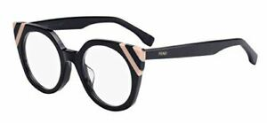 Fendi Ff 0246 KB7 Ondas Gris Rayas Rosa Claro Plástico Ojo de Gato Gafas 48mm