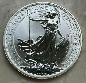 2004 Great Britain Britannnia 2 Pounds 1 Oz .999 Silver Round
