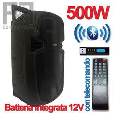 CASSA SPEAKER BLUETOOTH PORTATILE 500W AMPLIFICATA SD USB KARAOKE BALLO CANTO