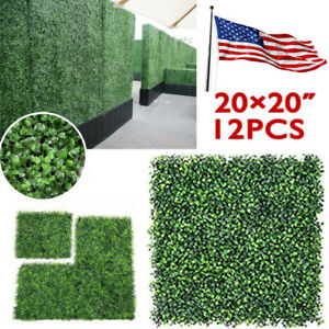 """12pcs 20x20"""" Artificial Boxwood Mat Wall Hedge Decor Privacy Fence Panel Grass"""