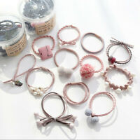 12pcs Hair Bands Rope Girl Pearl Stretch Hair Ties High Elastic Ponytail Holder