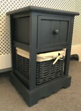 Grey Bedside Table Wicker Storage Basket Bedroom Furniture Cabinet Living Room