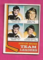 1974-75 OPC  # 28 BRUINS ESPOSITO + ORR  LEADERS GOOD CARD (INV# C3711)