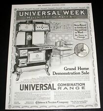 1918 OLD MAGAZINE PRINT AD, UNIVERSAL COMBINATION RANGES, BURNS GAS, WOOD, COAL!