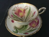 BONE CHINA CUP & SAUCER BY TUSCAN C9027 PINK TULIPS GOLD TRIM