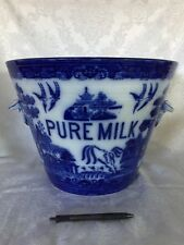 Gorgeous English Flow Blue Willow Advertising Pure Milk By Doulton