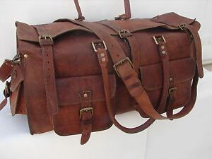 "Men's 26"" genuine Leather large vintage duffle travel gym weekend overnight bag"
