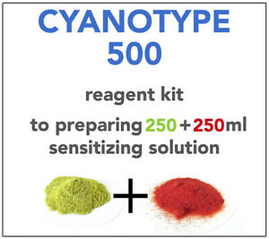 CYANOTYPE REAGENT KIT(for 250+250ml) ALL YOU NEED TO SENSITIZE 125 A4 SHEETS