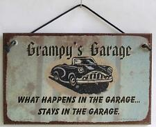 Grampy Garage 5x8 Sign What Happens Stays Man Cave Classic Car Shop Grandpa vtg