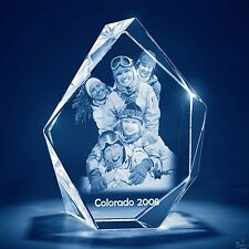 Laser Engraved 3D Crystal Glass Personalized Etched Engrave Gift Med. Prestige