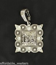 Cowgirl ~ COWBOY in PRAYER at CROSS ~ Western Charm Clip Pendant Silver Crystals