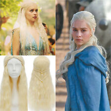 Khaleesi Blonde Long Wig Silver Mother Of Dragon Daenerys Targaryen Hair Cosplay