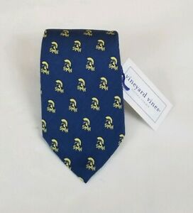 New Vineyard Vines Men's Blue St. Mary's Print Silk Necktie Neck Tie 60L 3.5W