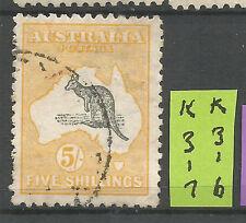 Roos 5/- Yellow/Grey 2nd Wmk VFU L%$K K316