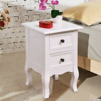 White Night Stand for Bedrooms w/ 2 Storage Drawers, Wood End Accent Table