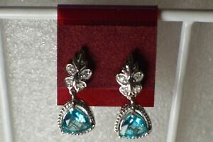 2.74ct Paraiba Topaz / Zircon Dangle Earrings Platinum over Fine Silver VVS