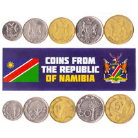 5 NAMIBIAN COIN LOT. DIFFER COLLECTIBLE COINS FROM AFRICA. FOREIGN CURRENCY
