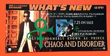 PRINCE • CHAOS & DISORDER • Japanese Promo Flyer + Prince Live CD FREE!!