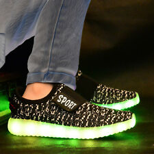 LED Trainers Shoes Boys Girls Light up USB Charger Luminous Kids Casual SNEAKERS Black EUR 34