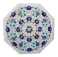 "24"" White Marble Coffee Table Top Lapis Turquoise Inlay Floral Mosaic Arts H1412"