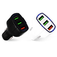 3.5A QC3.0 Fast Charging Car-charger Adapter  3 Port USB for iPhone Samsung KK