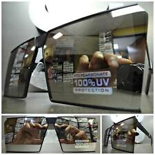 OVERSIZED VINTAGE RETRO SHIELD Style SUN GLASSES Black Frame Chrome Mirror Lens