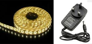5M 12V 3528 SMD LED LIGHT STRIP WARM WHITE with CHARGER IP21 ready 2 connect
