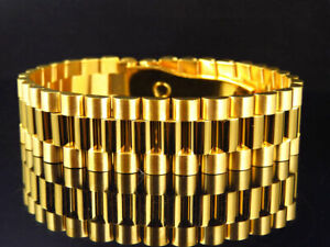 New Yellow Gold Finish Stainless Steel Presidential Solid Design Bracelet (18MM)