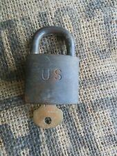 Vintage Brass US Military Padlock W Key Made by Waterbury.