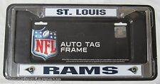 NFL ST Louis Rams Chrome License Plate Frame Thick Blue Letters