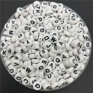 100pcs 7mm Alphabet Letter Beads Round Single & Mixed Acrylic White Charms DIY