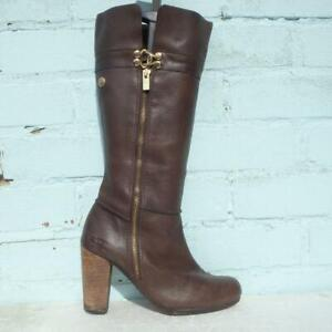 Thomas Burberry Leather Boots UK 5 Eur 38 Womens Vintage Pull on Brown Boots