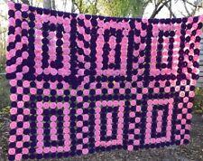 "Vintage Handmade YOYO Quilt 83"" x 83"" Full/Qn? Purple Pink USA Made"