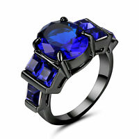Size7 Black Platinum Plated Wedding Engagement Ring sapphire Propose Mother Gift