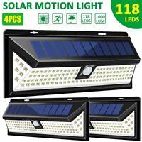 118 LED Solar PIR Motion Sensor Lamp Garden Wall Path Light Outdoor Waterproof