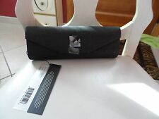 black with gold sparkle and chain strap clutch handbag by Candice