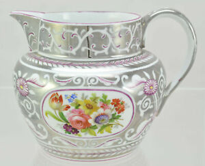 Superior Antique Silver Lustre Hand Painted Floral 5 Inch Jug Pitcher c 1810